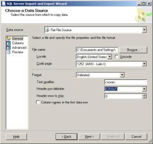 Choosing Flat File Source in SQL SERVER import wizard