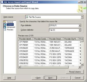Set your column and row delimiters in SQL Server Import Utility