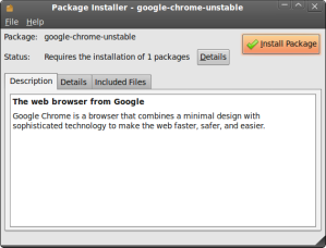 Click on Install Package at the prompt to install Google Chrome