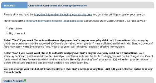 Summary of Debit Card Overdraft Coverage