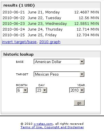 USD to MXN exchange rate June 2010
