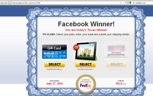Wannabe Facebook Winner Site