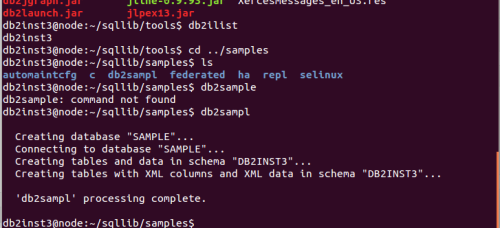 installing sample DB2 database in Linux