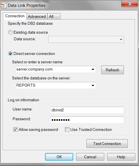 Set DB2 Connection properties and test connection