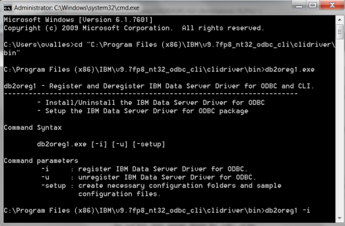 Registering and setting up your DB2 ODBC Driver in Windows